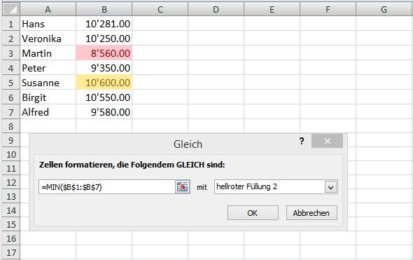 Grösster und kleinster Wert in Excel markieren