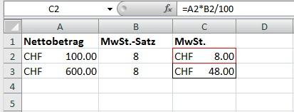 Mehrwertsteuer Berechnungen mit Excel